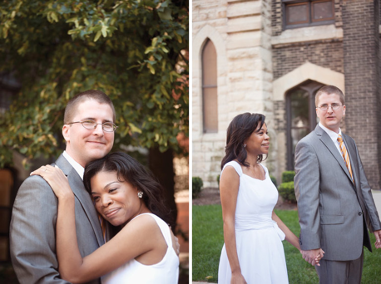 Photos of couple after church wedding in Chicago