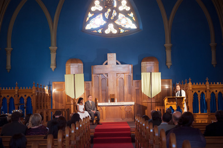 Beautiful blue indoor church photo